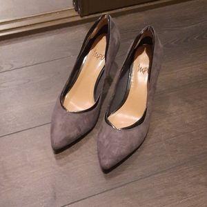 Gray Suede Kitten Heels